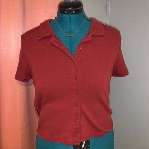 American Eagle Red Crop Button Up